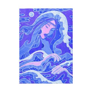 Welle, Meerjungfrau, Fantasie-Kunst-asiatisches Leinwanddruck