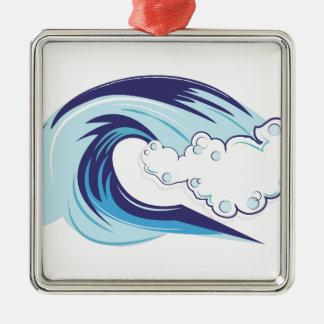 Welle Quadratisches Silberfarbenes Ornament