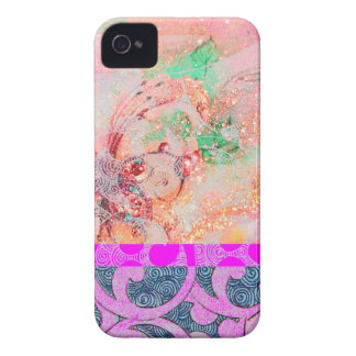 WELLEN/heller rosa lila Wirbel in den GoldGlitzern iPhone 4 Case-Mate Hülle