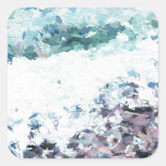 Wellen hüllen am Ufer - Malerei - Kunstgeschenk - Quadratischer Aufkleber