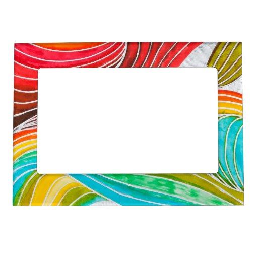 Wellen Muster Gezeichnet Durch Watercolor Farben Magnetische Rahmen Zazzle