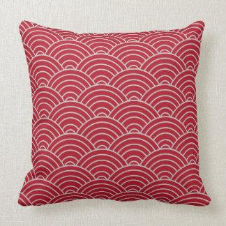 Wellen-Muster-hochrotes Rot Kissen