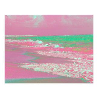 Wellen solarized den magentaroten grünen bedruckte flyer