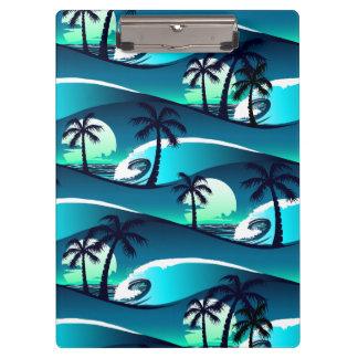 Wellen und Palmen Klemmbrett