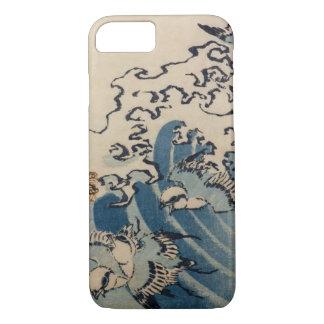 Wellen und Vögel, c.1825 (Farbewoodblock) iPhone 8/7 Hülle