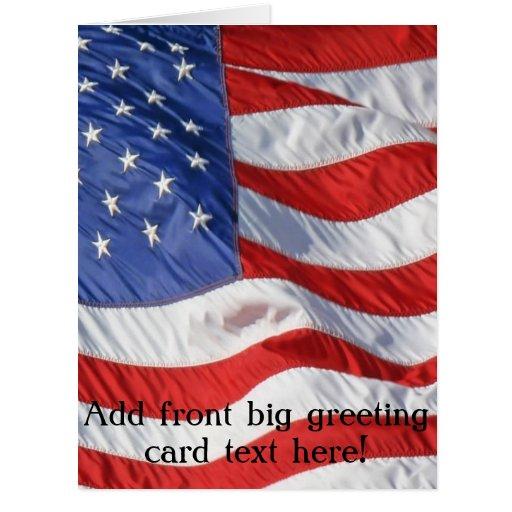 Wellenartig bewegende amerikanische Flagge Grußkarten