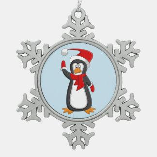 Wellenartig bewegende Baumverzierung des Pinguins Schneeflocken Zinn-Ornament
