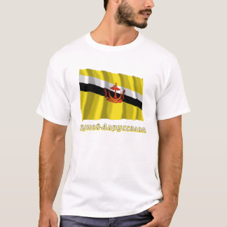 Wellenartig bewegende Brunei-Flagge mit Namen auf T-Shirt