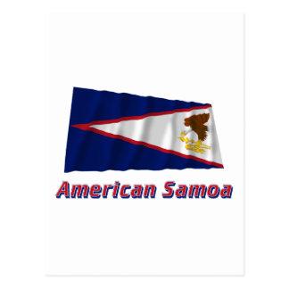 Wellenartig bewegende Flagge American Samoa mit Postkarte