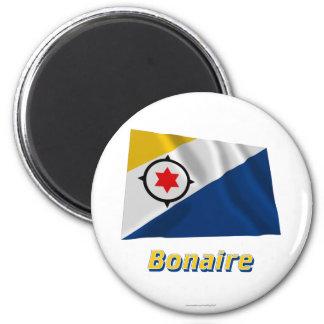 Wellenartig bewegende Flagge Bonaires mit Namen Runder Magnet 5,7 Cm