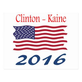 Wellenartig bewegende Flagge Clintons Kaine Postkarte