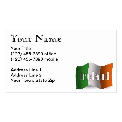 Wellenartig bewegende Flagge Irlands Visitenkartenvorlage