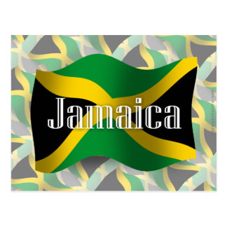Wellenartig bewegende Flagge Jamaikas Postkarte