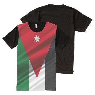 Wellenartig bewegende Flagge Jordaniens T-Shirt Mit Bedruckbarer Vorderseite