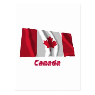 Wellenartig bewegende Flagge Kanadas mit Namen Postkarte