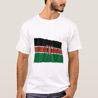 Wellenartig bewegende Flagge Kenias T-Shirt