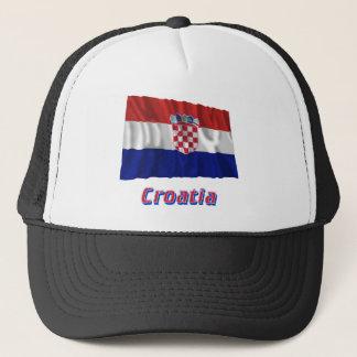 Wellenartig bewegende Flagge Kroatiens mit Namen Truckerkappe