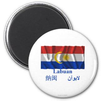 Wellenartig bewegende Flagge Labuans mit Namen Runder Magnet 5,1 Cm