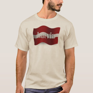 Wellenartig bewegende Flagge Lettlands T-Shirt