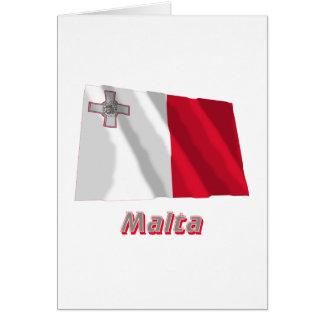 Wellenartig bewegende Flagge Maltas mit Namen Karte