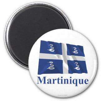 Wellenartig bewegende Flagge Martiniques mit Namen Runder Magnet 5,7 Cm
