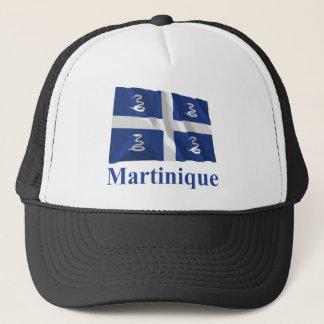 Wellenartig bewegende Flagge Martiniques mit Namen Truckerkappe