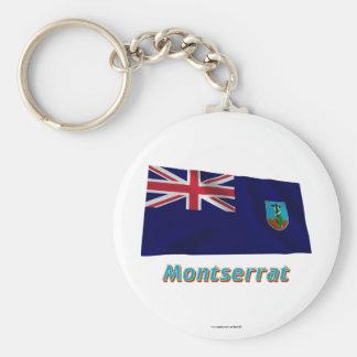 Wellenartig bewegende Flagge Montserrats mit Namen Standard Runder Schlüsselanhänger