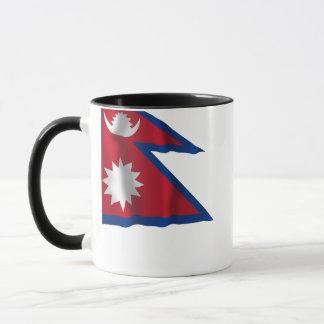 Wellenartig bewegende Flagge Nepals Tasse