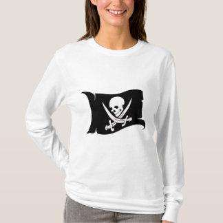 Wellenartig bewegende Flagge-Pirat Ikone #7 T-Shirt