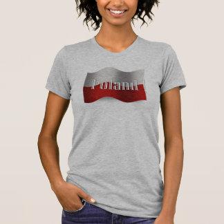 Wellenartig bewegende Flagge Polens T-Shirt