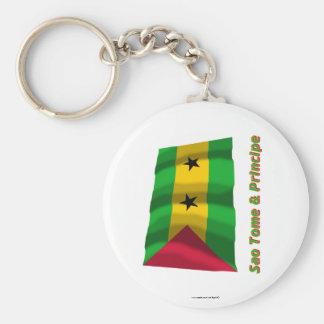 Wellenartig bewegende Flagge Saos Tome u. Principe Standard Runder Schlüsselanhänger