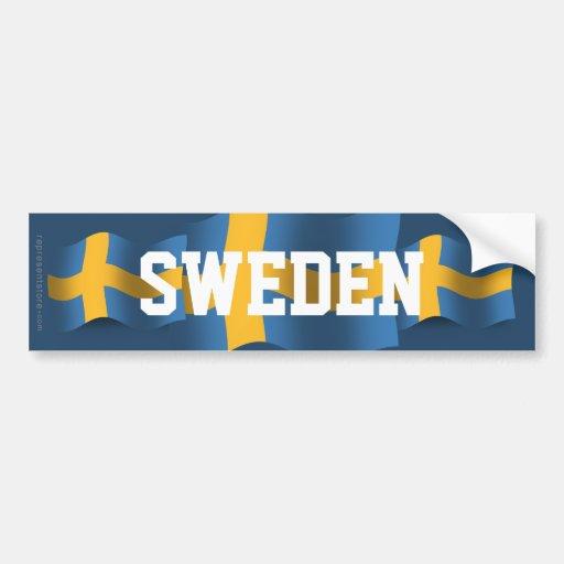 Wellenartig bewegende Flagge Schwedens Autosticker