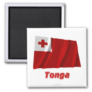 Wellenartig bewegende Flagge Tongas mit Namen Kühlschrankmagnete