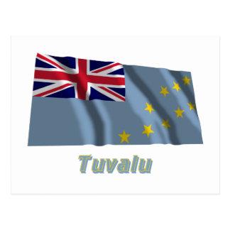 Wellenartig bewegende Flagge Tuvalus mit Namen Postkarte