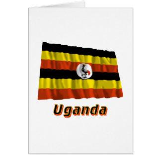 Wellenartig bewegende Flagge Ugandas mit Namen Karte