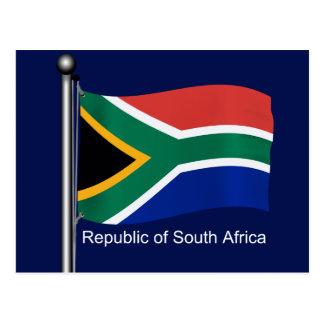 Wellenartig bewegende Flagge von Südafrika Postkarte