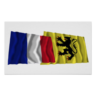 Wellenartig bewegende Flaggen Frankreichs u. Nord Plakat