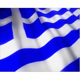 Wellenartig bewegende griechische Flagge Fotoskulptur