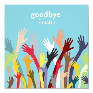 Wellenartig bewegende Hände - AbschiedsParty Quadratische 13,3 Cm Einladungskarte