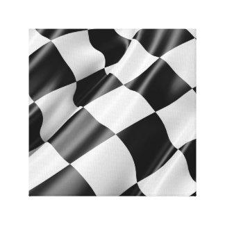 Wellenartig bewegende laufende Schwarzweiss-Flagge Leinwanddruck