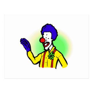 wellenartig bewegender Clown Postkarte