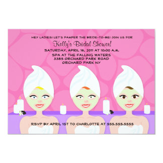 WELLNESS-CENTER-BRAUTPARTY-EINLADUNG Rosa/Lila 12,7 X 17,8 Cm Einladungskarte