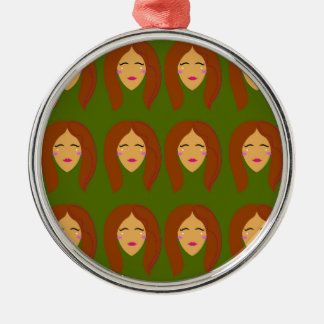 Wellneßfrauen/auf Olive BG Silbernes Ornament