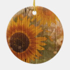 Wellpappen-böhmische gelbe Sonnenblume Keramik Ornament