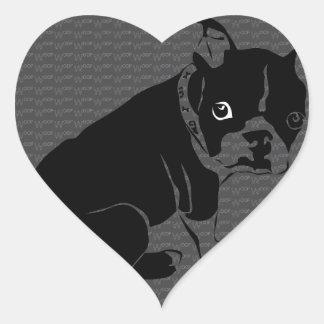 Welpe Bostons Terrier Schuss Herz-Aufkleber