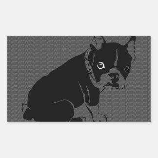 Welpe Bostons Terrier Schuss Rechteckiger Aufkleber