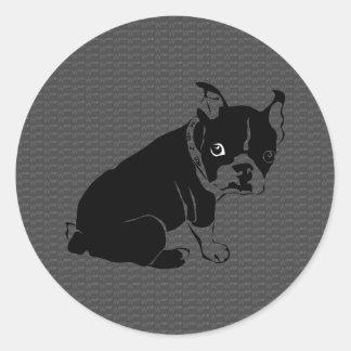 Welpe Bostons Terrier Schuss Runder Aufkleber