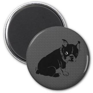 Welpe Bostons Terrier Schuss Runder Magnet 5,7 Cm