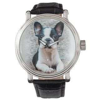 Welpe der französischen Bulldogge Armbanduhr