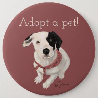 Welpe gemalt von mir für Haustier-Adoption Runder Button 15,3 Cm